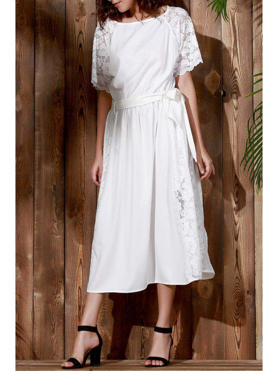 affordable Combined Lace Flare Sleeve Dress - WHITE L