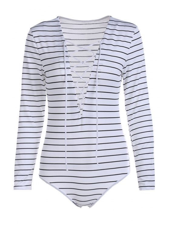fancy Striped Plunging Neck Long Sleeve Lace Up Bodysuit - WHITE S