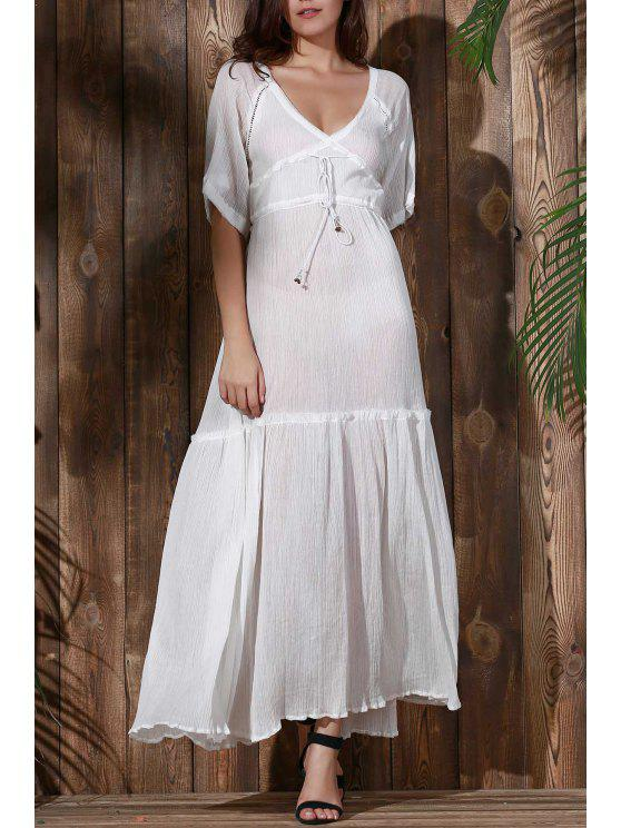 online Open Back Tiered Flowing Dress - WHITE L