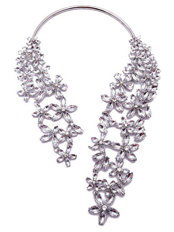 affordable Rhinestone Faux Crystal Floral Torque Necklace - WHITE