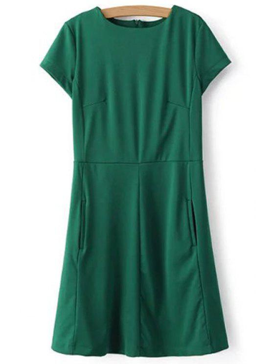 womens Green Round Neck Short Sleeve Dress - GREEN L