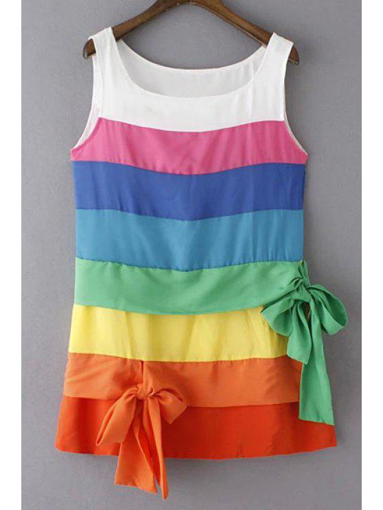 best Colorful Stripe Scoop Neck Sundress - COLORFUL S