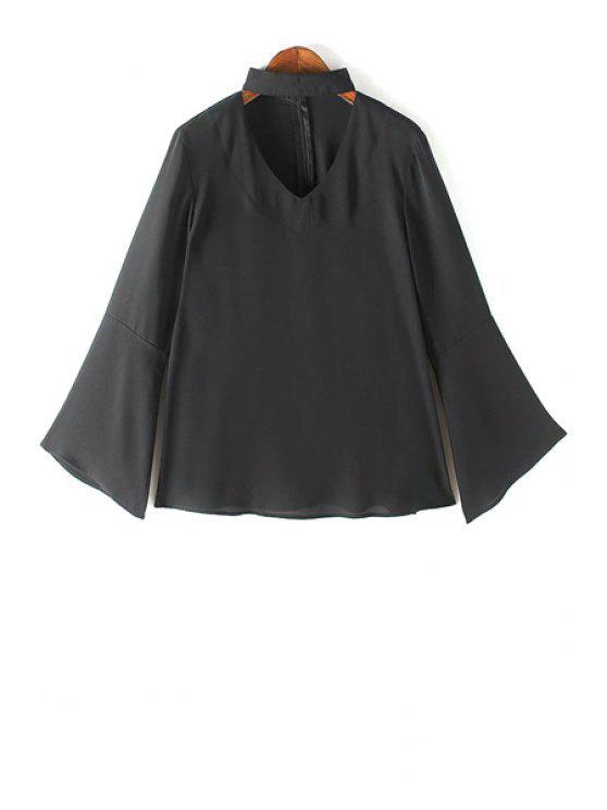 women V Neck Flared Sleeve Choker Blouse - BLACK S
