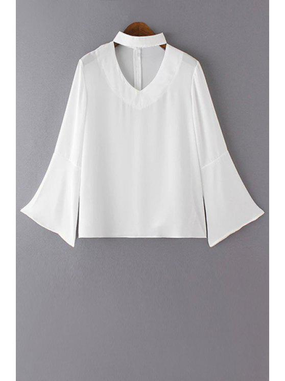 buy V Neck Flared Sleeve Choker Blouse - WHITE L