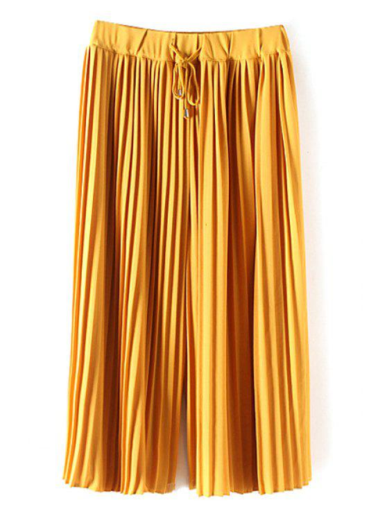 latest Pleated Elastic Waist Solid Color Culotte - YELLOW M
