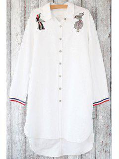 Loose Animal Embroidered Shirt Collar Long Sleeve Shirt - White