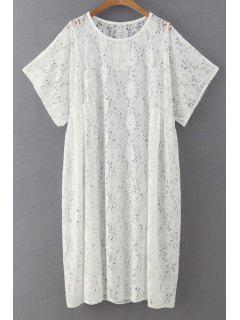 Loose Fit Lace Dress - White L