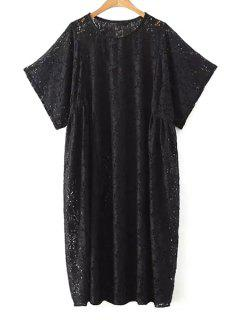 Loose Fit Lace Dress - Black L
