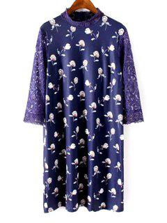 Lace Sleeve Printed Shift Dress - Blue S