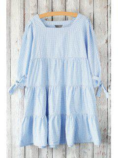 Checked Flounce Ruffles Square Neck 3/4 Sleeve Dress - Light Blue