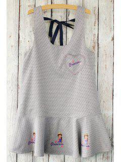Houndstooth Printed Scoop Neck Sleeveless Dress - Gray