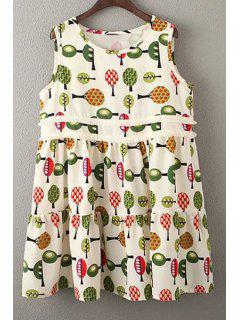 Printed Smock Sundress - Off-white S