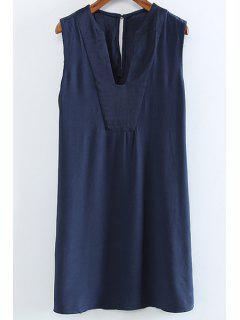 Solid Color V-Neck Sleeveless Cut Out Dress - Purplish Blue L