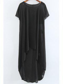 High Low Short Sleeve Dress - Black L