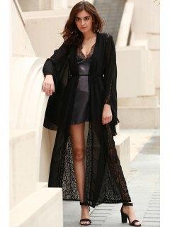 Kimono Sleeve Extra-Long Chiffon Blouse - Black Xl