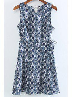 Printed Round Collar Sleeveless Lace Up Dress - Blue 2xl