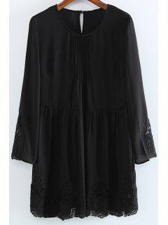 Lace Embroidery Round Collar Long Sleeve Dress - Black 2xl