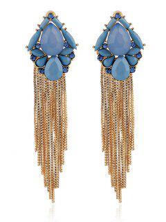 Pair Of Stylish Resin Water Drop Tassel Earrings - Blue
