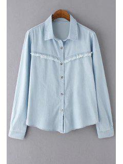 Effilochée Bleach Wash Denim Shirt - Bleu Clair L