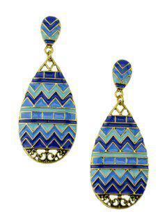 Paire De élégante Glaze Vague Boucles D'oreilles Goutte D'eau Pour Les Femmes - Bleu