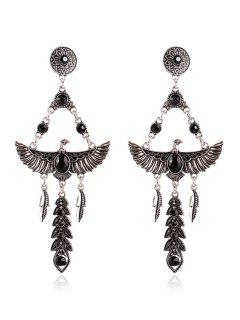 Pair Of Faux Crystal Decorated Eagle Earrings - Black
