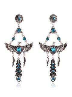 Pair Of Faux Crystal Decorated Eagle Earrings - Peacock Blue