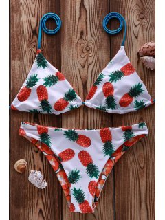 Pineapple Print Plunge Neck Bikini Set - White M