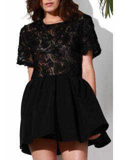 Flower Pattern See-Through Skate Dress - Black 2xl