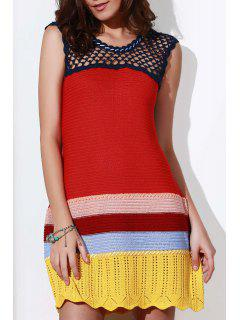 Crochet Cut Out Round Neck Sleeveless Dress - Red