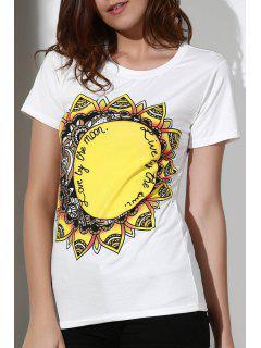 Tournesols Imprimer Col Rond Manches Courtes T-shirt - Blanc 2xl