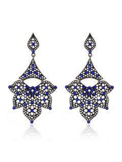 Rhinestone Hollow Out Petals Earrings - Sapphire Blue