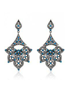 Rhinestone Hollow Out Petals Earrings - Peacock Blue
