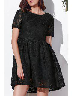 Black Lace Round Neck Short Sleeve Dress - Black L