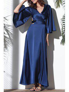 Flare Sleeve Cross-Over Maxi Dress - Deep Blue 2xl