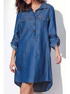 Robe Droite Boutonée à Manches Roulottées - Bleu 2xl