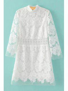 Robe Blanche En Dentelle En Crochet Floral à Col Montant - Blanc L