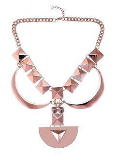 Geometric Design Sweater Chain - Rose Gold