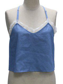 Cut Out Lace Denim Spliced Halter Neck Tank Top - Blue Xl