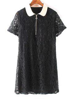 Peter Pan Collar Black Lace Dress - Black L