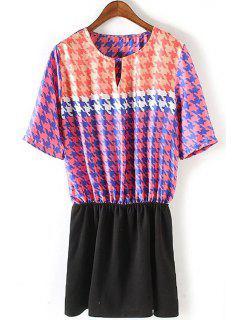 Houndstooth Print Color Block Dress - L