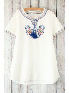 Retro Floral Bordado Cuello Redondo Manga Corta De La Camiseta - Blanco