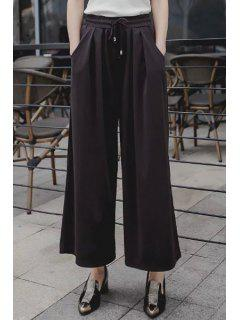 Wide Leg Pocket Design Cropped Pants - Black Xl