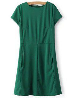 Vestir De Manga Corta Cuello Redondo Verde - Verde L