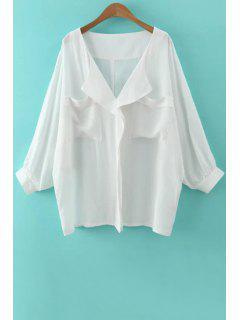 Blanca Con Cuello En V Manga Larga Blusa Suelta - Blanco M
