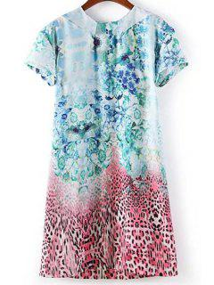 Leopard Print Round Neck Short Sleeve Dress - L