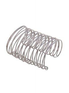 Chunky Characteristic Cuff Bracelet - Silver