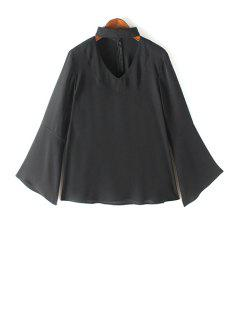 V Neck Flared Sleeve Choker Blouse - Black S