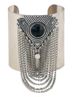 Chic Chunky Link Chain Tassel Cuff Bracelet - Black