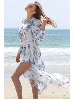 Full Floral V-Neck Long Sleeve Maxi Dress - White S