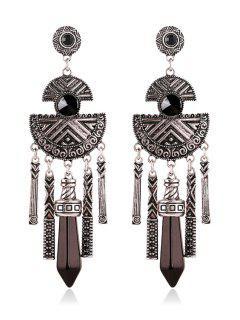 Pair Of Faux Gemstone Fringed Earrings - Black